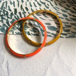 J. Crew Orange & Mustard Yellow Enamel Bangles